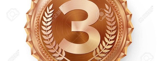 Bronze Medal Vector. Bronze, Copper 3rd Place Badge. Sport Game Bronze Challenge Award. Red Ribbon. Isolated. Olive Branch. Realistic Illustration.